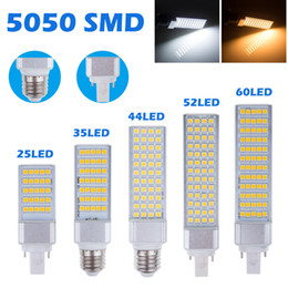Wholesale G24 15w Light Bulb - E27 G24 G23 Horizontal Plug lights led corn bulb SMD 5050 led lamp 180 degeree AC 85-265V 6W 7W 9W 10W 12W 14W 15W 64 LEDs led lighting