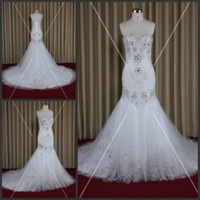 Wholesale Sweetheart Tulle Rhinestones - 2015 Mermaid Wedding Dresses with Rhinestones Sweetheart Lace-up Sparkling Engagement Dresses Real Image Luxury Wedding Gowns with Crystals