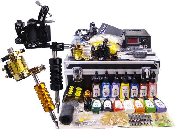 2015 Hot Tattoo Machine Set Kit 2 Guns Machines Aluminum Alloy Motor 14 Kuro Sumi Colors 1 Black Toolbox Pigment Cup 100 Micky Sharpz Tattoo Power