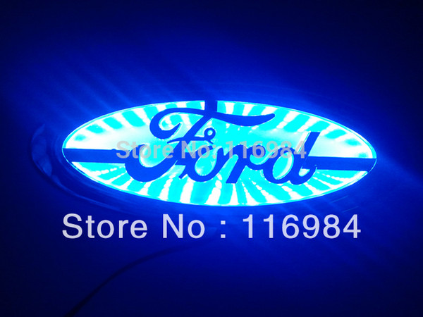 Blue white red Car Emblem LED Trunk Hood Background Light For Focus MONDEO 14.5 X5.6 CM