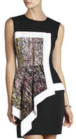 Wholesale Block Peplum Dress - New Color Block Women Print Dress Sexy Sleeveless Asymmetrical Peplum Dresses 6783