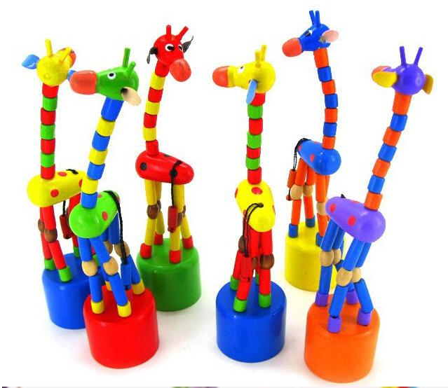 Baby Wooden Rock Giraffe Toy Standing Dancing Hand Doll 17cm Tall Animal Toy