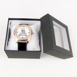 TONVIC Comercio al por mayor 24 Caja de caja de caja de muestra de exhibición de reloj de papel Caja de joyería Con tapa de plástico transparente Almohada blanca Estuches de regalo de moda desde fabricantes