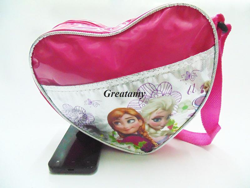 fff49adde0d1 Heart Shape Girls Handbags Elsa Anna Printed Mirrir Leather Cute Girl  Single-shoulder Bag Little Girls Purse Snack Pack Baby Handbag Children One  Shoulder ...