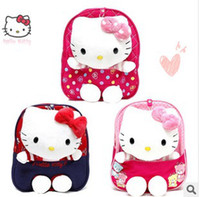 Wholesale Cute Bag For School Man - New arrival Cute 3D Hello Kitty Bag with anti-lost strap Baby Girls Children School Bag Toy for kids Satchel Bag, 1720