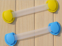 Wholesale Wholesale Child Gates - 50pcs lot Free shipping 2 colors Blue Yellow Bendy Door Drawer Safety Lock For Child Kids Baby safety lock 15cm style HF2