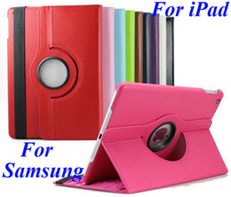 Wholesale Leather Rotating Ipad Air Case - 360 Degree Rotating PU Leather Case For iPad Mini 2 3 4 5 6 Air Air2 Samsung Galaxy Tab S T700 T800 P3200 P5200 T230 T530