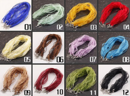 Wholesale Mixed Organza Ribbon Necklace Cords - Free Shipping 100pcs lot 17-20 inch mixed color organza ribbon chain necklace cords(30colors you can pick colors )
