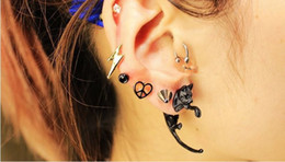 Wholesale Cat Ear Tail - Long Tail Leopard Cat Puncture Ear Stud Lovely Womens Mens Unisex Earrings Free ShippingPunk Ear Stud-E439
