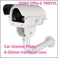 Wholesale Cctv Cameras Cars - CCTV Surveillance White Light Car License Plate Security Camera Sony CCD 700TVL 6~22mm Varifocal Lens with Bracket KA-6087BZQW