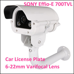 Wholesale Cctv Cameras Cars - CCTV Surveillance White Light Car License Plate Security Camera Sony CCD 700TVL 6~22mm Varifocal Lens with Bracket KA-6087BZQW