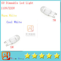 Wholesale Candle Leds Bulbs - G9 5W 7W Dimmable 110V-220V 1 LEDs Lamp 360 Beam Angle Warm Cool White LED Miniature Candle Bulb 10x