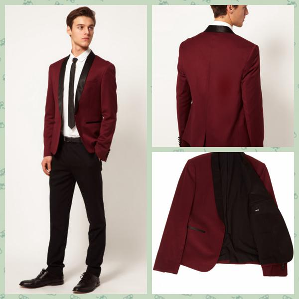 2014 Brand Groom Tuxedo Wine Red Shawl Lapel Groomsmen Best Men ...