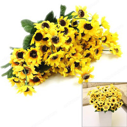 Wholesale Sunflower Wedding Decorations - Wholesale-New Beautiful Artificial Sunflowers Bouquet Flowers Home Decoration Gift Free Shipping