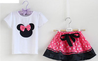 Wholesale Kids Minnie Mouse Outfit - Girls Cartooon 2pcs Suits T shirt+Pants Skirt Bowknot 1-6Y Child Kids Cartoon Tee Shorts Skirts Outfits Sets Kid Minnie Mouse Pink Red D2595