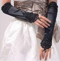 Wholesale Wholesale Red Satin Gloves - Black Satin Bridal Glvoes Beaded Fingerless Excellent Quality Elbow Length In Stock Bridal Accessories Wedding Glvoes