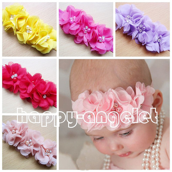 top popular 20pcs Gril baby 3 flowers hair bands pearl Crystal Chiffon flower combination set Elastic Headbands Headwear head band Hair Accessories H061 2020