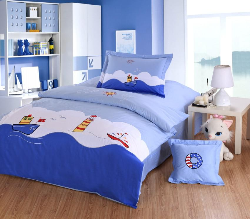 Ocean Style Boys Kids Bedding set Embroidery Sailing boat light house Blue Twin Full size Single double duvet cover 4pc Children Bed set