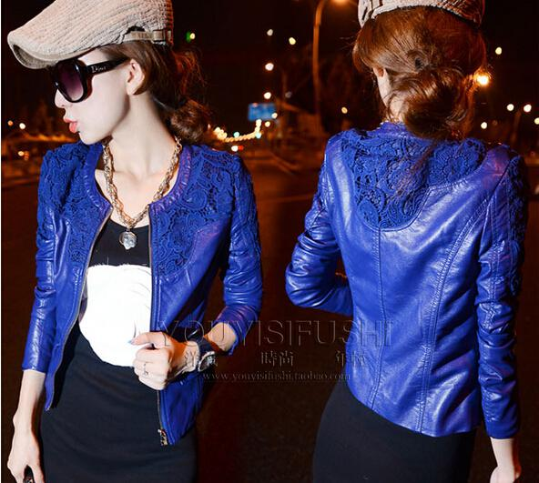 2017 2014 New Women Leather Jackets Fashion Blue Red Color Hook ...