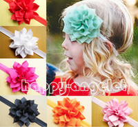 Wholesale Corner Fabric - 50 pcs Gril Headwear handmade Hair Accessories 4inch sharp corner fabric Head Flower with Elastic Headbands hair band SG8577