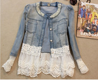 Wholesale HOT new spring Autumn women Beautiful lace split joint fashion Denim Cardigan coat overcoat QY148