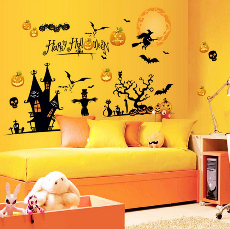 halloween wall stickers window glass sticker removable house shop halloween wall stickers window glass sticker removable house shop decorative home decor kids party favorite ghost witch bat skull