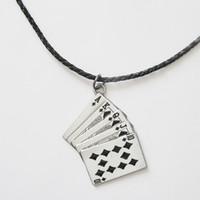 Wholesale Poker Card Necklace - Men Leather Necklace Royal Flush Poker Card Charm Necklace NECKLACE-CS012BK