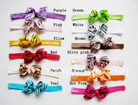 Wholesale Zebra Hair Color - 50 pcs Gril boutique handmade Headwear 3 inch printing zebra grosgrain ribbon Bowknot hair bows with Elastic Headbands hair band SG8580