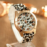 Wholesale Wholesale Leopard Watches - Free Shipping New arrival geneva women dress watches leopard print silicone watch gold watches ladies jelly casual watch relojes