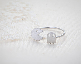 Wholesale Ghosts Band - 10pcs lot Pac-Man and Ghost Ring - Silver Pacman rings,unique rings,adjustable rings,stretch rings,cute ring,fun rings,JZ011