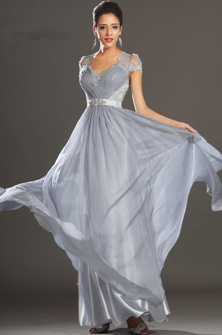 New Elegant Silver Grey Women Dresses Long Ruched Floor Length ...