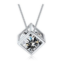 Wholesale Wholesale Sterling Box Chain Necklace - New Arrival,Cheap Pendant Necklace,925 Sterling Silver with Platinum Plated,Square Box with Austria Crystal ON49