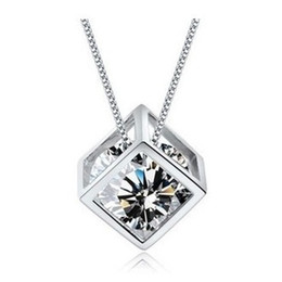 Wholesale Cheap Sterling Silver Chains Wholesale - New Arrival,Cheap Pendant Necklace,925 Sterling Silver with Platinum Plated,Square Box with Austria Crystal ON49