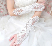 Wholesale White Performance Gloves - New Fashion Girl Wedding Dress Finger Gloves Child Flower Gown Ball Glove Kid Butterfly Floral Beaded Mittens Performance