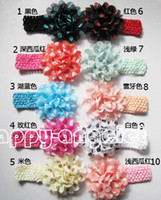 Wholesale Eyelet Chiffon Flower Headband - 30 pcs baby Headwear Head Flower Hair Accessories Eyelet hole Mesh Fabric Wave point Chiffon flowers soft Elastic crochet headbands GZ7412