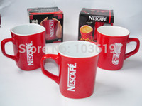Wholesale Square Ceramic Cup - Wholesale-Promotion classic Nescafe square coffee cup nescafe red coffee cup ceramic coffee cup red 2pcs lot
