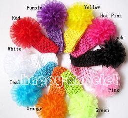 Wholesale Soft Nylon Chiffon - 30 pcs baby Headwear Head Flower Hair Accessories nylon organza ribbon carnation Chiffon flowers with soft Elastic crochet headbands GZ7413