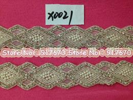 Wholesale Rhinestone Beaded Trim Crystals - Luxury New Glitter Pearl Trim crystal rhinestone applique beaded motif trimming for Clothes Wedding Dress Decoration