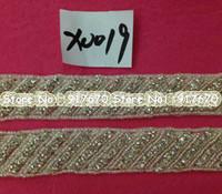 motiv kleider großhandel-10 yard / lot Luxus Neueste kristall strassapplikationen perlenapplikationen motiv trimmen großhandel für Hochzeitskleid Petticoats Zubehör
