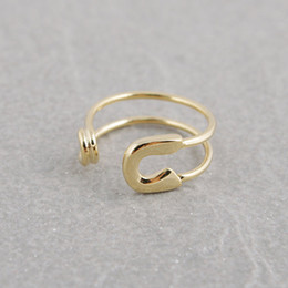 Wholesale Big Adjustable Rings - 10pcs lot Big Safety Pin Gold Silver Rose Gold Safety pin rings,adjustable rings,knuckle ring,stretch rings,cool rings,couple rings,JZ016