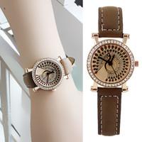 Wholesale Designer Items - PU Leather Wristband Glass Analog Quartz Peacock Wrist Watch New Summer Designer Wholesale Item for Women