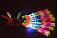 Wholesale 12 Kids Parachute - LED Arrow Helicopter LED Amazing Arrow Flying Helicopter Umbrella parachute Kids Toys Space UFO LED Light Christmas Halloween Flash Toys