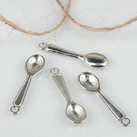 Wholesale Wholesale Spoon Charms - 70pcs tibetan silver color mini spoon design charms H3080