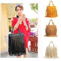 Wholesale Leather Fringe Purse Handbag - Wholesale-Lady Cute Hobo PU Leather Shoulder Tote Bag Handbag Fringe Tassel Purse