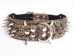 Wholesale Cheap Spike Collars - Wholesale-Free shipping Colorful Cheap 100% Guarantee Spiked Studded PU Leather Dog Collars PitBull Mastiff Gold Brown