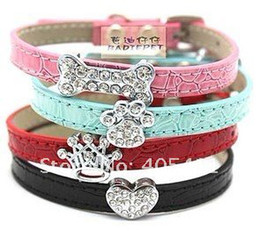 Wholesale Red Bling Dog Harnesses - Wholesale-DIY Croc PU Leather puppy Dog Collar with Rhinestone Buckle!bling cat,dog,pet collars.Pet products.free shipping!10pcs lot
