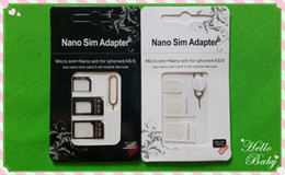 Wholesale Cato Card - Wholesale -4In1 NOOSY Iphone 5 Iphone 4 4 s Nano Micro Sim3 in 1 adapter cato SIM card retail box with high quality