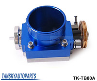 Wholesale Manifold Intake - NEW 80mm THROTTLE BODY silver,blue for RB25 2JZ EVO 1-6  petrol 4.8 CRUSIER 4.5L intake manifold TK-TB80A