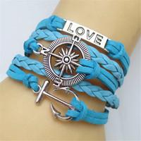 Wholesale Vintage Compass Charm - Anchor compass love infinity bracelets 5colors leather handmade vintage bracelets hy3281