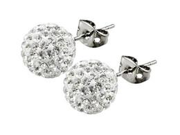 Wholesale Swarovski Rhinestone Silver Balls - Best Quality!6mm 12 Pairs Swarovski Crystal Shamballa Bead Pave Disco Ball Beads 925 Sterling Silver Earring Studs Fashion Jewelry